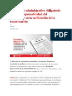 Precedente Administrativo Obligatorio Sobre La Responsabilidad Del Conciliador en La Calificación de La Reconvención