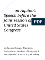 Corazon Aquino's Speech Before the Joint Session of the United States Congre