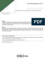 AZOUVI, François. La triplicité des points de vue sur le corps dans la philosophie de Maine de Biran