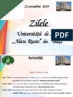 """Zilele Universității de Stat """"Alecu Russo"""" din Bălți, 7-12 octombrie 2019."""