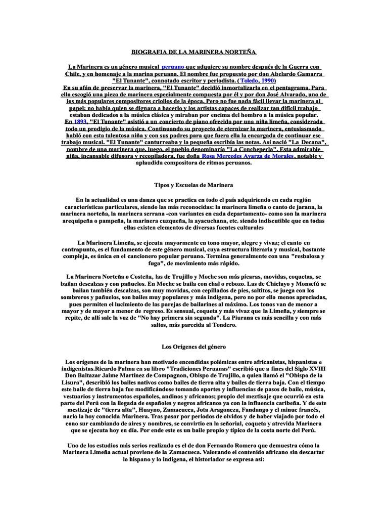 Kupdf Net Biografia De La Marinera Nortea Danzas Artes
