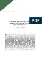 Algunass Consideraciones Terminológicas en Torno a La Modernidad. Juan Antonio Cortés
