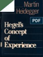 Martin Heidegger Hegel and the Concept of Experience
