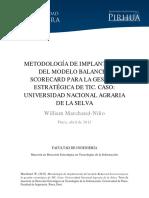 Metodología de Implantación Del Modelo Balanced Scorecard Para La Gestión Estratégica de Tic. Caso Universidad Nacional Agraria de La Selva