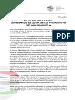 GRUPO FINANCIERO BOD SOLICITA ARBITRAJE INTERNACIONAL POR CASO BANCO DEL ORINOCO NV