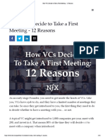 How VCs Decide to Take a First Meeting - 12 Reasons