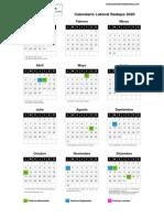 Calendario Laboral Badajoz 2020