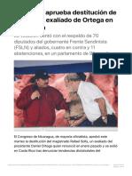 Congreso aprueba destitución de juez Solís exaliado de Ortega en Nicaragua - Re