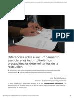 Diferencias Entre El Incumplimiento Esencial y Los Incumplimientos Prestacionales Determinantes de La Resolución _ Sepín