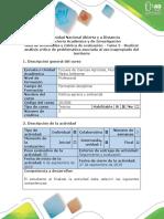 Guía de Actividades y Rúbrica de Evaluación - Tarea 2 - Realizar Análisis Crítico de Problemática Asociada Al Uso Inapropiado Del Territorio