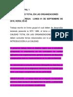 Trabajo 1. Calidad Total en Las Organizaciones