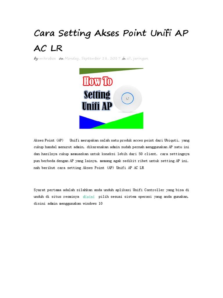 Cara Setting Akses Point Unifi AP AC LR.docx