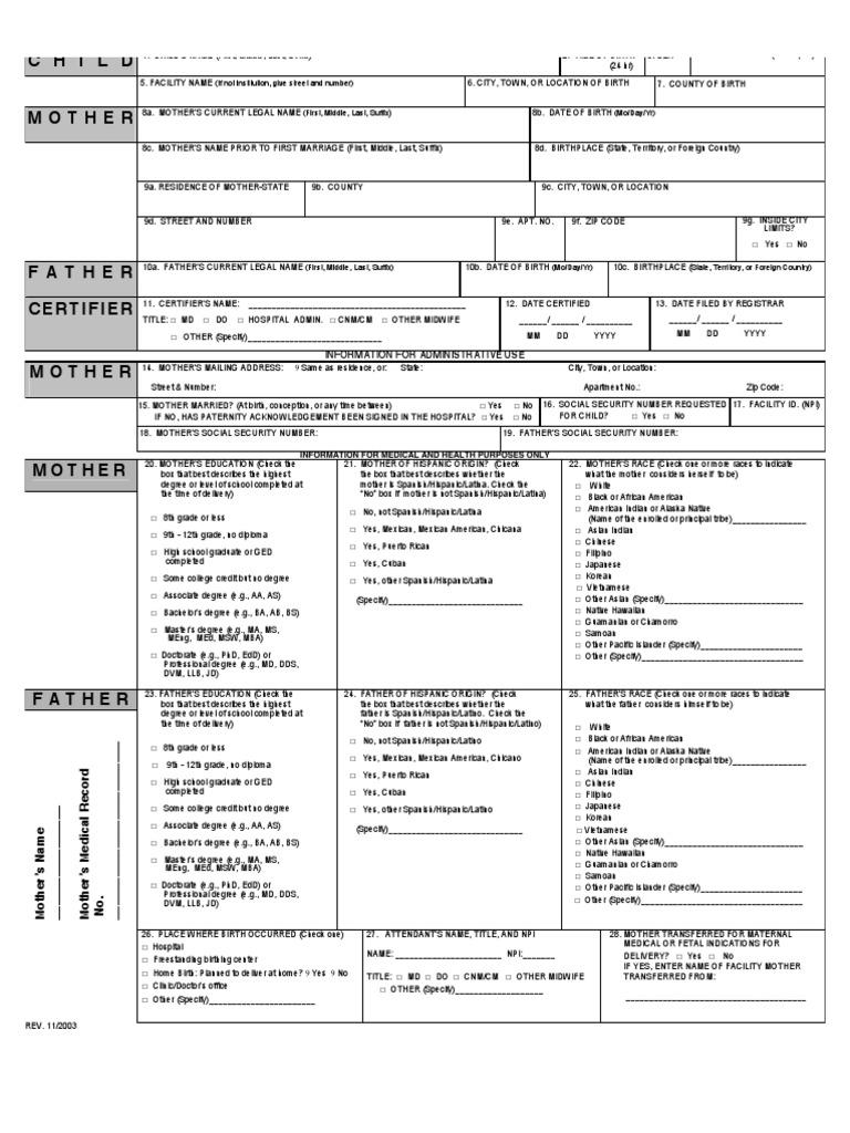 Child: U.S. Standard Certificate Of Live Birth ...