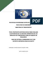 Propuesta Metodológica Para Evaluar La Eficiencia en La Gestión Operativa de Los Servicios de Transporte Público Masivo de Pasajeros.