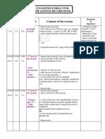 LessonsRecordBook2.Doc · Version 1