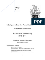 Msc Sports & Ex Rehab Info