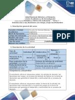 Guía de actividades y rúbrica de evaluación - Tarea 1 - Introducción a las decisiones con riesgo y bajo incertidumbre
