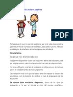 Evaluación Diagnóstica o Inicial. Objetivos