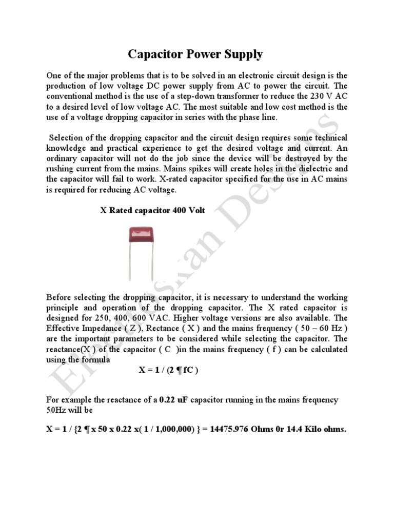 Transformer Less Power Supply Design3 Capacitor Rectifier Transformerless 12v