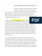 Constitución Política de Colombia y Ley General de Educación