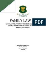 Analysis of Tripple Talaq Judgement and Bill Criminalizing Tripple Talaq
