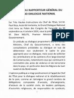 Rapport Du Rapporteur Général du dialogue national