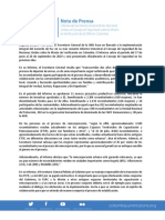 Octubre Nota de Prensa Informe SG UNVMC