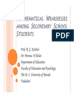 Mathematical weakness among secondary school students