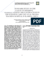 A QUESTIONNAIRE STUDY ON THE EVALUATION OF DIFFERENT PHARMACOKINETIC DRUG INTERACTIONS IN THE INTENSIVE CARE UNIT OF AL-THOURA TEACHING HOSPITAL IN EL-BEIDA, LIBYA