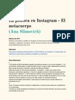 La política en Instagram - El metacuerpo (Ana Slimovich)