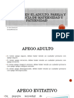 Apego Adulto, Pareja y La Vivencia Maternidad y Paternidad. Pptm