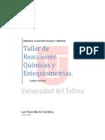 Quimica Taller Reacciones Quimicas y Estequiometricas