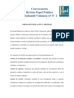 Convocatoria - PAPOES - Vol. 15 N° 2