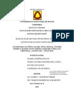 Autoestima en Niños (as) Del Nivel Inicial, Centro Modelo, Ramón Santo Medina Zoquier (Cmei), San Cristóbal, Agosto 2017 – Julio 2018.