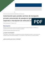Autorización para prestar servicio de transporte privado remunerado de pasajeros (general o especial) e inscripción de vehículos en el servicio