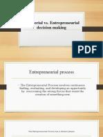 Mnagerial vs. Entrepreneurial Decision Making