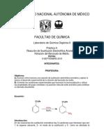Reacción de Sustitución Electrofílica Aromática.