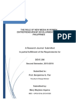 Research Journal on the Role of New Media in Women Entrepreneurs in the Philippines