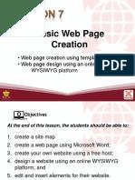 Lesson 7 - Basic Webpage Creation