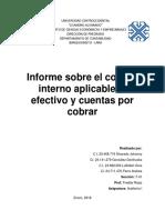 Informe Sobre El Control Interno Aplicable Al Efectivo y Cuentas Por Cobrar