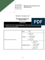 MA3111 Formulas Tables