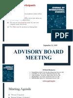 JIS Advisory Board Meeting- Sept 12, 2019