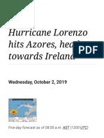 Hurricane Lorenzo Hits Azores, Heads Towards Ireland