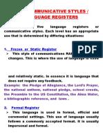 Communicative Style or Language Register