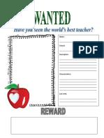 Wanted Teacher Poster 4E
