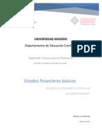 Ensayo. Estados Financieros Básicos, Cuál Es Su Función y Cómo Se Complementan