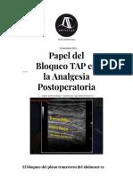 Papel Del Bloqueo TAP en La Analgesia Postoperatoria