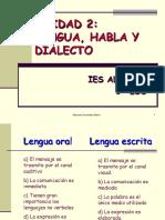 Lengua, Habla y Dialecto