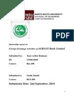 Internship report on foreign exchange