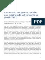Kamerun Une Guerre Cachee Aux Origines de La Francafrique 1948 1971